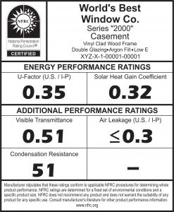 Sample NJ NFRC Label